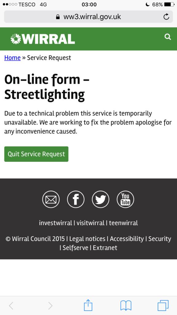 Error message on council streetlighting website